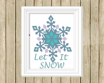 printable Christmas wall art Let it Snow quote instant download 8 x 10 snowflake modern contemporary art print blue green home decor