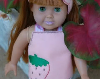24 Hour Sale Price!!!!   18 Inch Doll Strawberry Felt Halter and Headband Embroidery Machine Design for the 5x7 hoop