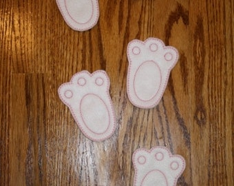 Felt Easter Bunny Footprints Embroidery Machine Design for the 4x4, 5x7, 6x10 hoops