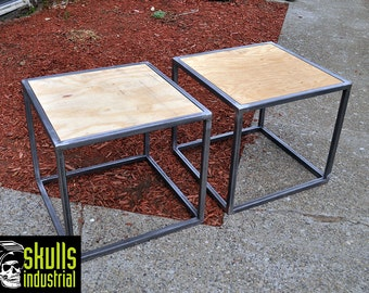 Coffee Table Welded Steel With Reclaimed Wood In A Diagonal