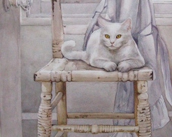 Two White Cats - Waiting for Answers - Original Watercolor