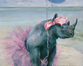 Child's Birthday Card, Birthday Card, Rhinoceros, Animal Art Card, Birthday Card Child, Tutu,Animal Art, Greeting Cards. Birthday Cards