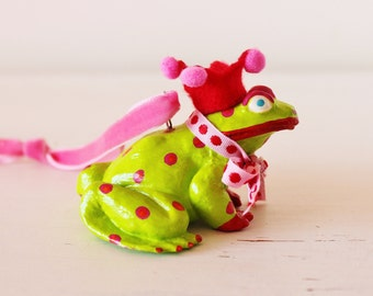 Hand painted frog hanging decoration.