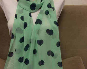 Green scarves, hearted scarf, schiffon scarf, infinity scarf,  long scarf,  scarves, chiffon scarves,  patterned scarves, multicolor scarves