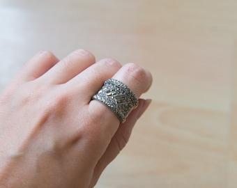 Art Deco Sterling Silver Marcasite Vintage Ring