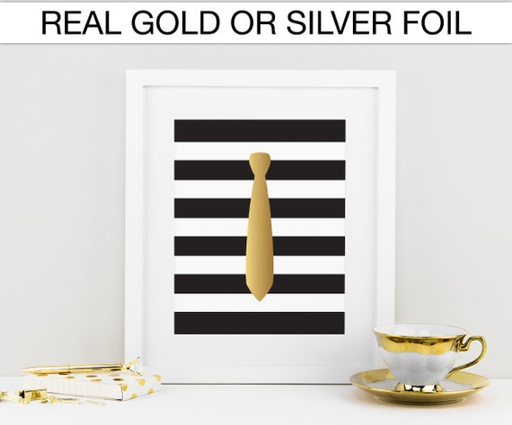 Tie, Gold foil print, Real foil, Silver foil print Decor, Black and white stripes, Fashion Wall art, Gallery wall,  Closet decor, Heels