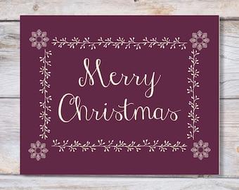 Printable art Christmas MERRY CHRISTMAS print, Holiday wall art, Printable Christmas  Holiday Art Print Christmas decor Holiday printable