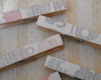 Elephant Pink/Blue Decorated clothespins 8 pack