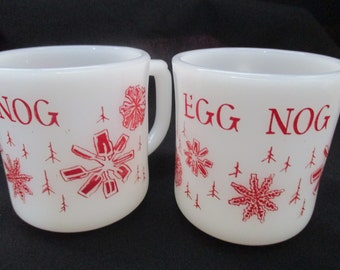 Set of 2 Vintage Fire King Milk Glass Eggnog Cups. 1960's