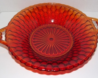 "ZERO SHIPPING! RARE Vintage Indiana Glass Ruby Red ""Honeycomb"" Relish Dish"