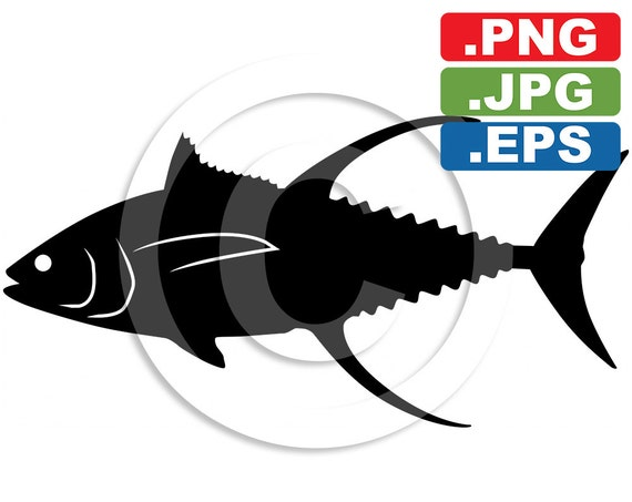 Yellowfin Tuna Fish Silhouette Clip Art In 3 by ...