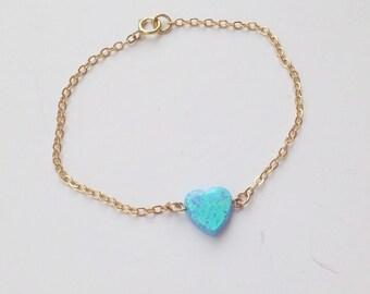 Opal bracelet, heart opal, gold filled bracelet , heart bracelet, heart opal bracelet, opal heart bracelet,Gift for her,dainty bracelet