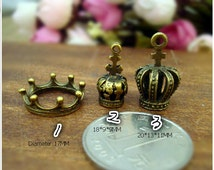 3 Styles Bronze DIY jewelry accessories, retro three-dimensional crown, retro accessories, small ornaments--Quantity and style Free Choice