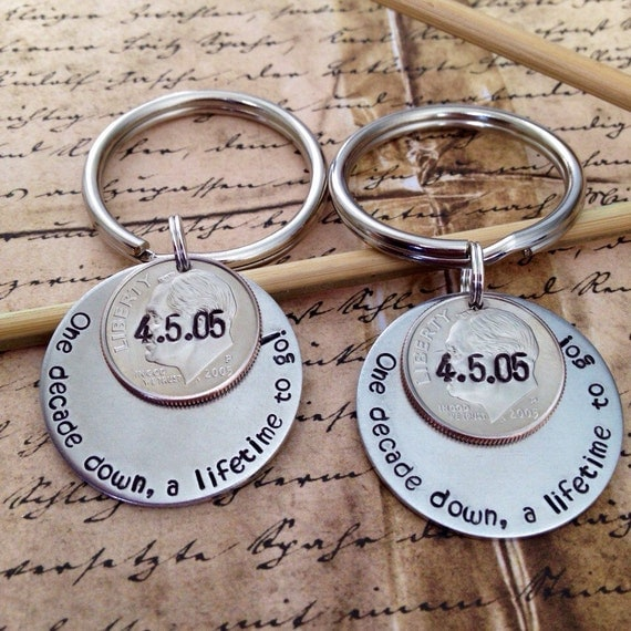 His And Her Wedding Anniversary Gifts : ... Dime Keychains, Personalized Gift for Him Her, Wedding Date, 10th Year