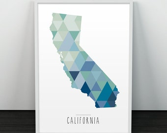 California print, Triangles geometric art, Modern print, Wall art, Wall print, California silhouette, California geometric, California art