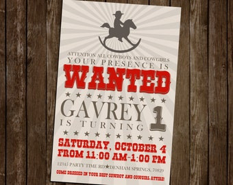 5.5x8.5 Cowboy Themed Birthday Invite