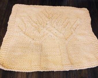 "Big chunky blanket of merino wool, warm with trees 60"" x 80"""