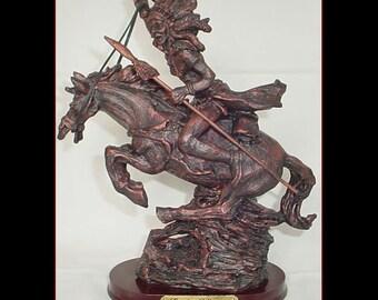 Warrior on Horse Desk Statue