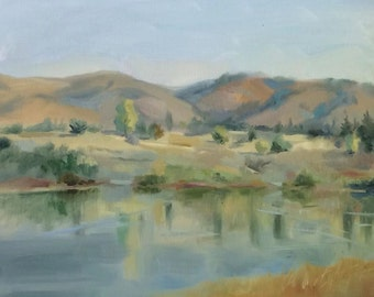 Reflections. Quarry Lakes (oil painting)