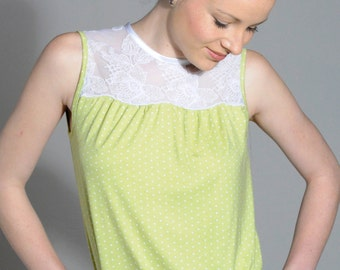 Top top without sleeves lace Jersey with points and top yoke lemon STEFFI white lace blouse