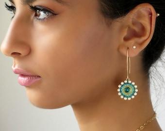 Turquoise wedding jewelry, Turquoise statement earrings, Long Turquoise Earrings, Turquoise & Pearls Earrings, Turquoise bridal jewelry