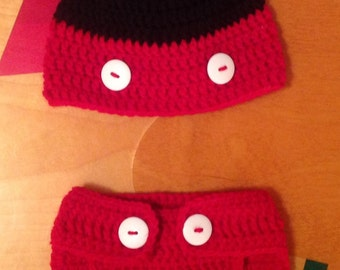 Mickey Mouse hat and diaper cover set/ 0-9 months