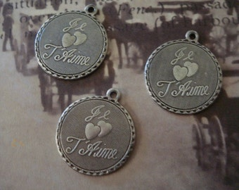 antique silver brass just je T Aime charms 2 pic 18.5mm