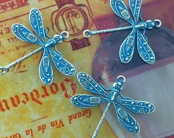 Antique brass blue patina brass dragonfly connectors 10