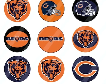 Chicago Bears digital collage sheet 4x6 1 inch round for bottle cap   INSTANT DOWNLOAD
