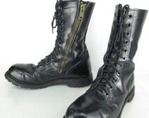 Mens Vintage Carolina Black Leather Lace Up Zipper Military Combat Jump Steel Toe USA Boots Sz 9
