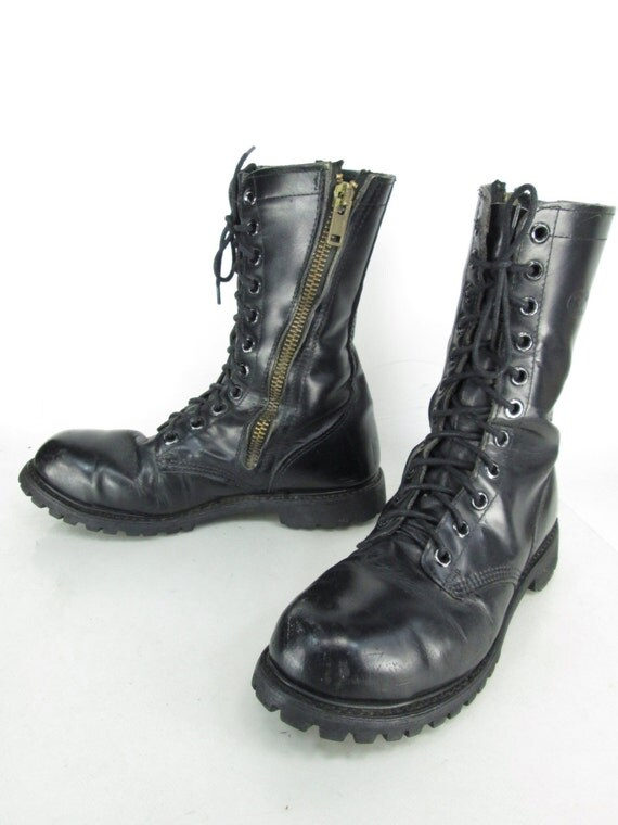 Mens Vintage Carolina Black Leather Lace Up Zipper Military