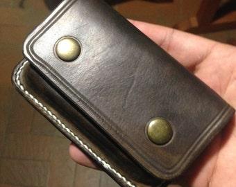 Porte carte de visite en cuir avec initiales