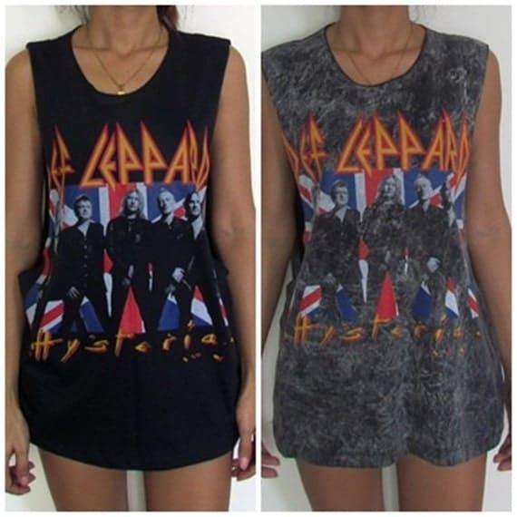 Cut side def leppard vest tank top singlet t shirt dress women s men