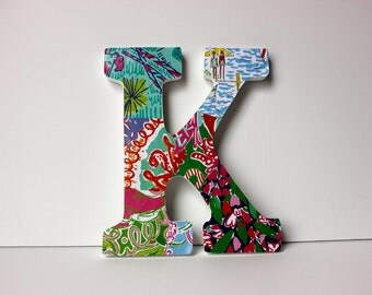 Personalized Lilly Pulitzer Print Letter Wall Decor | College bedroom | Dorm Decorations | Monogram | Wooden Letter Initial | SpreadSomeSun