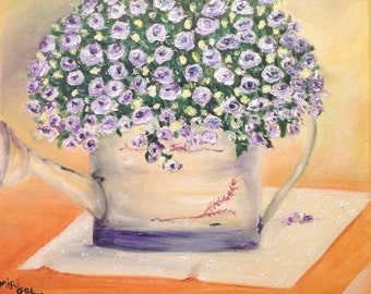 PURPLE FLOWERS-Beautiful originaL oil painting on canvas ,one of a kind piece of art  NOW****Free Shipping ****