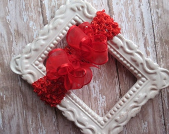 Valentine's Day RED satin-edge Organza hair bow headband Baby Infant Toddler  Cici's Boutique