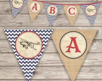 Printed Vintage Airplane Baby Shower It's a Boy Banner Rustic Theme Party Baby Sip and See Red Navy Blue Red Burlap Chevron
