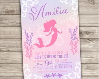 Mermaid Birthday Invitations Shabby Chic Little Mermaid Silhouette Theme First Birthday girl Pink Teal Cute Invitations NV6172