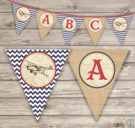 Vintage Airplane Party Printables Airplane Birthday Airplane: Vintage Airplane Birthday Printable Banner Rustic Theme Party
