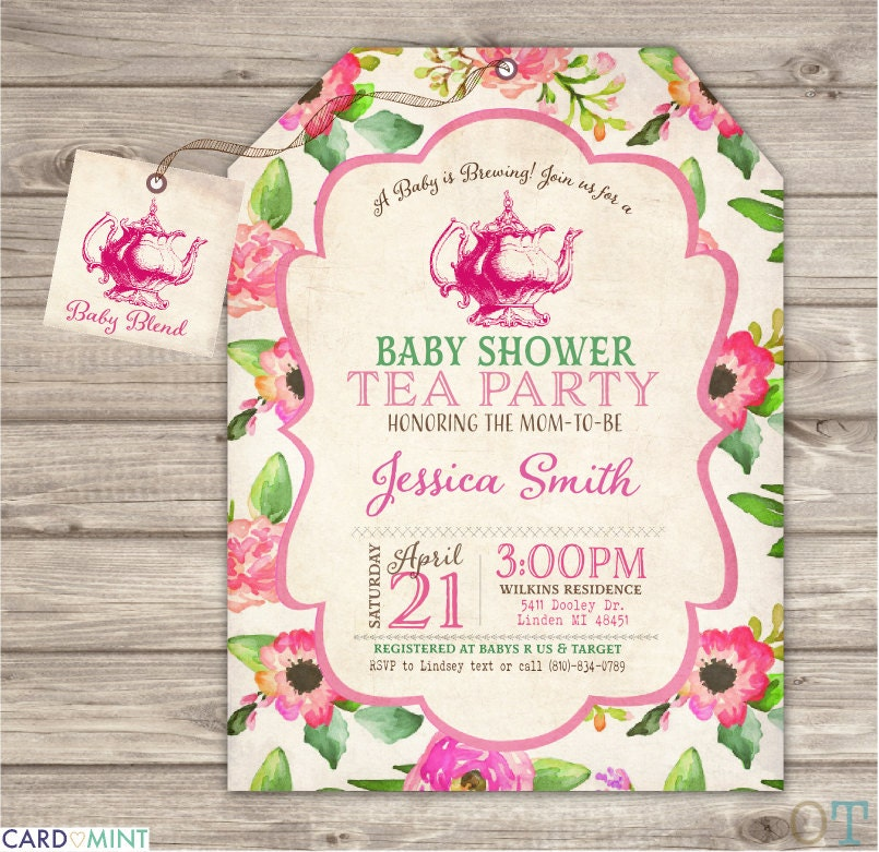 baby shower tea party invitation a baby is brewing flowers tea