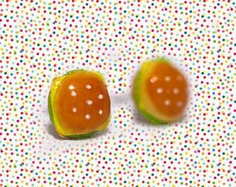 Miniature Cheese Burger Fast Food Earrings