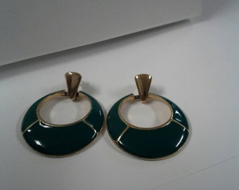 Vintage Green Enamel Earrings