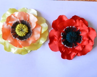 Fabric Flower PDF tutorial_for flower pin, hair clip or brooch _ pattern for poppy flower!