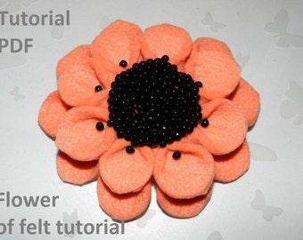 Fabric flower tutorial PDF, felt fabric flower, fabric flower brooch of felt! Christmas gift!