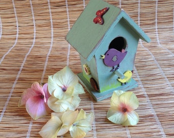 Painted Wooden Folk Art Style Bird Box with Birds, Butterfly, Flowers and Hedgehog
