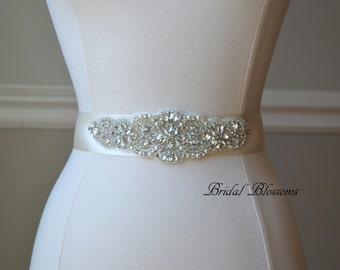 BEST SELLER - ROSALEE Ivory Bridal Sash   Rhinestone Pearl Wedding Dress Sash   Belt   Beaded Applique Sashes   Ribbon Sash Bridesmaids