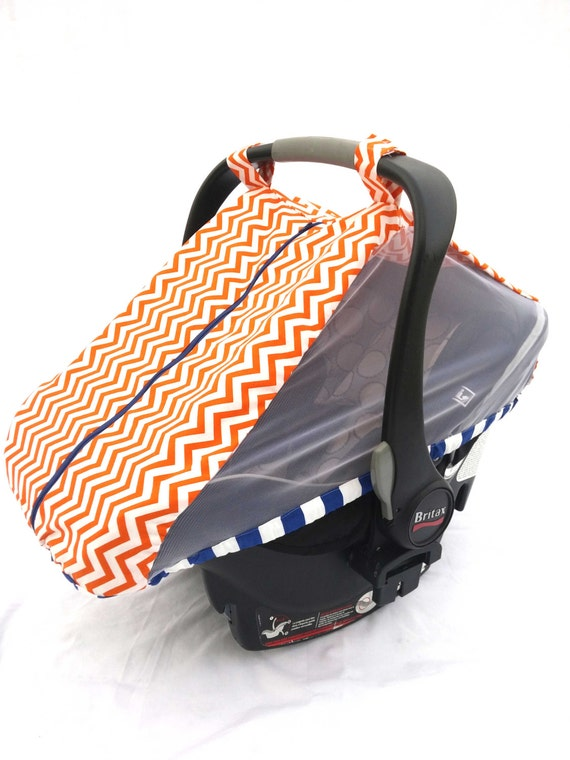 items similar to fitted cotton car seat cover for spring summer orange chevron fitted infant. Black Bedroom Furniture Sets. Home Design Ideas