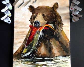 Original Piece- Autumn Catch - Grizzly bear catching salmon acrylic art painting on linen canvas
