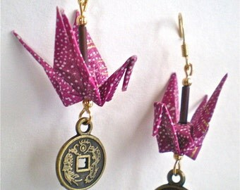 Origami Crane Earrings with Asian Good Luck Coin Charm