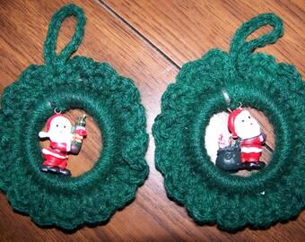 Set of 2 Mini Wreath Ornaments